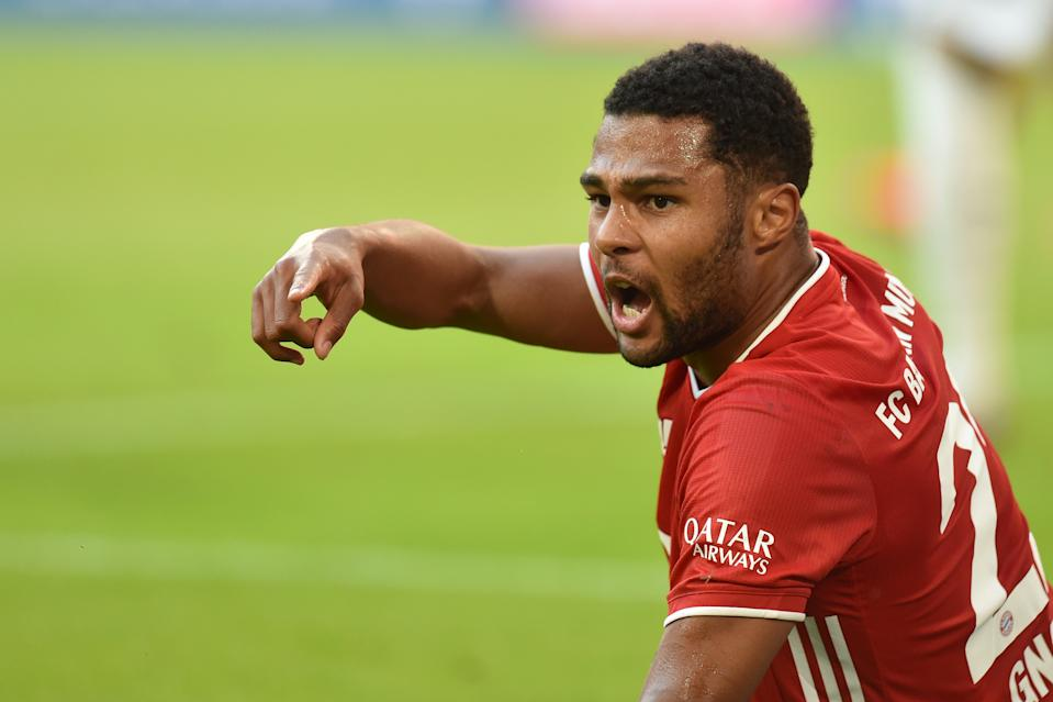 Soccer Football - Bundesliga - Bayern Munich v Borussia Moenchengladbach - Allianz Arena, Munich, Germany - June 13, 2020 Bayern Munich's Serge Gnabry reacts, as play resumes behind closed doors following the outbreak of the coronavirus disease (COVID-19) Christof Stache/Pool via REUTERS  DFL regulations prohibit any use of photographs as image sequences and/or quasi-video