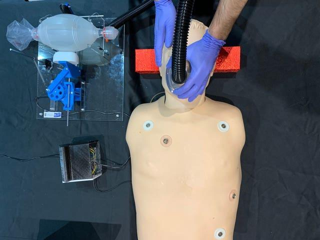 A ventilator being tested on a dummy (Glasgow University/PA)