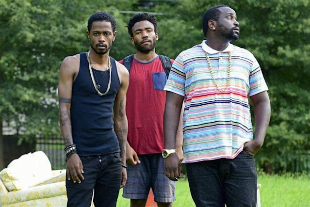 From left: Lakeith Standfield, Donald Glover, and Brian Tyree Henry. (Photo: Guy D'Alema/FX)