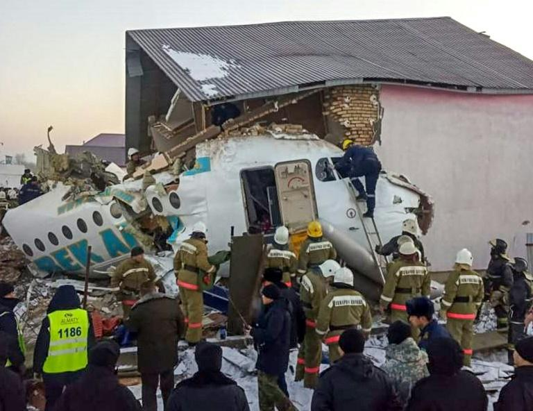 The plane smashed into a two-storey building just minutes after taking off in Almaty (AFP Photo/HO)