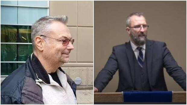 Calgary mayoral candidate Kevin J. Johnston, left, and preacher Tim Stephens, right, were released after their arrests for breaching public health restrictions.