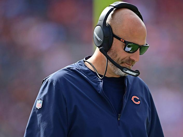 Chicago Bears head coach Matt Nagy walks the sideline ahead of a game against the Cleveland Browns.