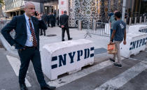 Police barricades rest in front of the Permanent Mission of Turkey across 1st Avenue from the United Nations headquarters Sunday, Sept. 19, 2021, in New York. The 76th Session of the U.N. General Assembly begins this week. (AP Photo/Craig Ruttle)