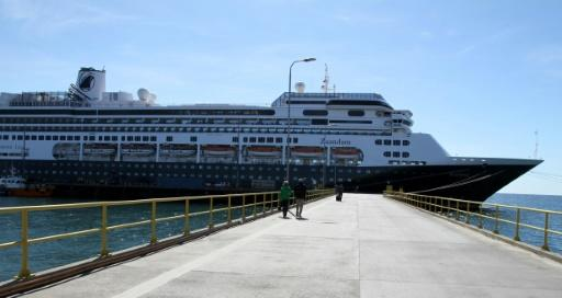 Holland America says no one has been off the ship since March 14, 2020, at Punta Arenas, Chile, where it is pictured