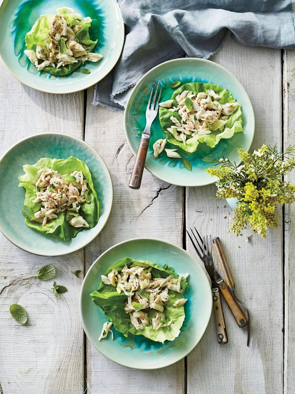 """<p><strong>Recipe:</strong> <a href=""""https://www.southernliving.com/recipes/west-indies-crab-salad-recipe"""" rel=""""nofollow noopener"""" target=""""_blank"""" data-ylk=""""slk:West Indies Crab Salad"""" class=""""link rapid-noclick-resp"""">West Indies Crab Salad</a></p> <p>This recipe couldn't be much simpler, and the results are amazing. Serve this as an appetizer course at your next brunch.</p>"""