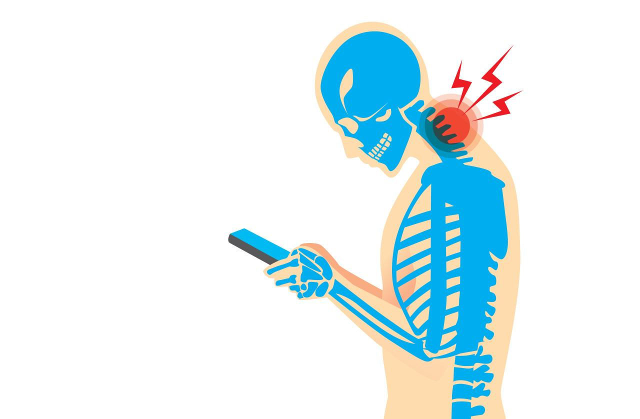 <p>The damage is not just psychological but physical as well. Tech-Neck is one such musculo-skeletal disorder which points at the typical head benched, shoulders slouched and eyes fixated to their device position adopted by most gadget geeks. Doctors attribute this as the main cause for the increasing complaints of chronic neck and shoulder pain among such individuals.   </p><p><br /></p>