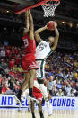 <p>Xavier Tillman #23 of the Michigan State Spartans goes up for a shot against the Bradley Braves during their game in the First Round of the NCAA Basketball Tournament at Wells Fargo Arena on March 21, 2019 in Des Moines, Iowa. (Photo by Andy Lyons/Getty Images) </p>