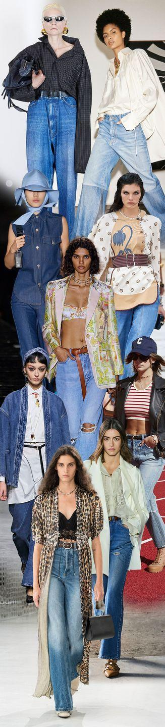 <p>Some have argued for sweatpants forever, and we can't deny the appeal, but a girl can never be fully divorced from her denim. Get the best of both worlds in oversized jeans that are as louche and cool as they are comfortable. Washes run the gamut from dark blues to tattered lighter fare—just add some oversized shirting and jackets, and you have your new uniform on lock.</p><p><em>Pictured from top to bottom: Balenciaga, Victoria Beckham, Ami, Chloe, Etro, Celine, Christian Dior, Valentino, and Paco Rabbane. </em></p>