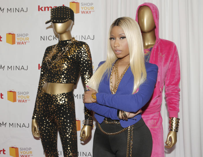 Nicki Minaj launches her fashion line at KMART on Tuesday, Oct. 15, 2013, in Los Angeles. (Photo by Todd Williamson/Invision/AP)