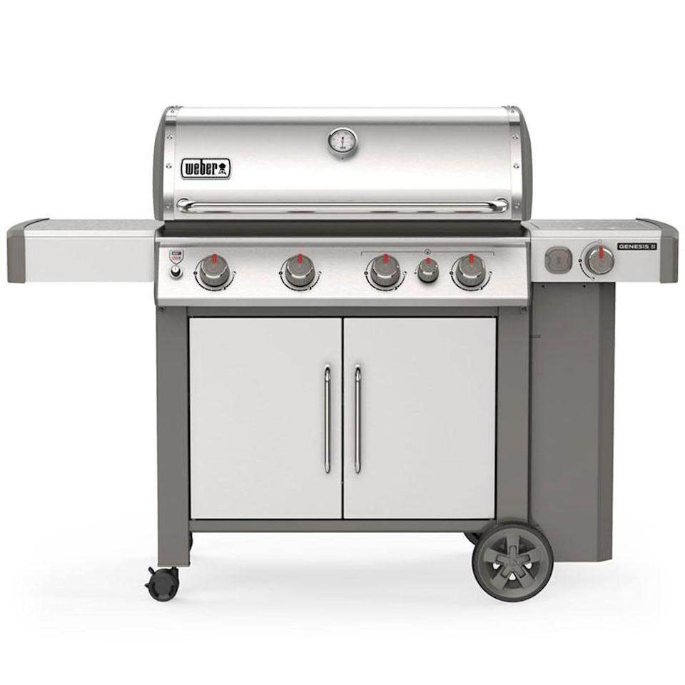 """<p><strong>weber</strong></p><p>homedepot.com</p><p><strong>$1299.00</strong></p><p><a href=""""https://go.redirectingat.com?id=74968X1596630&url=https%3A%2F%2Fwww.homedepot.com%2Fp%2FWeber-Genesis-II-S-435-4-Burner-Propane-Gas-Grill-in-Stainless-with-Built-In-Thermometer-and-Side-Burner-62006001%2F307575074&sref=https%3A%2F%2Fwww.delish.com%2Fkitchen-tools%2Fg36148334%2Fbest-outdoor-grills%2F"""" rel=""""nofollow noopener"""" target=""""_blank"""" data-ylk=""""slk:BUY NOW"""" class=""""link rapid-noclick-resp"""">BUY NOW</a></p><p>With four burners, the Weber Genesis II is great for big families and those looking for a larger appliance to host gatherings in an outdoor space. It comes with a built-in thermometer, side burner, and sear station as well so you can have multiple foods going at once.<br></p>"""