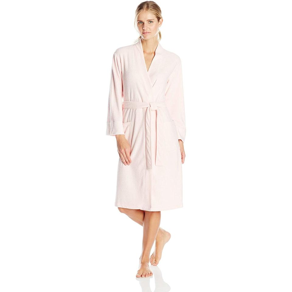 """<h3><h2>N. Natori Nirvana Brushed Terry Bathrobe</h2></h3><br>Crafted from a cozy terry fabric with chic slim-flitting, above-the-knee design, this blush-pink bathrobe is ready to take you from bath to bed and beyond in glamorous-recluse style. <br><br>As one Amazon reviewer who gave it top ratings stated, """"My robe arrived today and I just love it. It's lightweight but feels substantial — just right for summer. I bought blush pink and it's simply beautiful, brighter than the photo but still a soft color.""""<br><br><strong>N. Natori</strong> Nirvana Brushed Terry Bathrobe Robe for Women, $, available at <a href=""""https://www.amazon.com/Natori-Nirvana-Brushed-Terry-Bathrobe/dp/B0088AR09S/ref=cm_cr_arp_d_product_top"""" rel=""""nofollow noopener"""" target=""""_blank"""" data-ylk=""""slk:Amazon"""" class=""""link rapid-noclick-resp"""">Amazon</a>"""