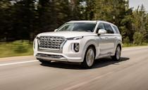 """<p>If you're in the market for an eight-passenger three-row SUV that starts at under $34,000, the <a href=""""https://www.caranddriver.com/kia/telluride"""" rel=""""nofollow noopener"""" target=""""_blank"""" data-ylk=""""slk:Kia Telluride"""" class=""""link rapid-noclick-resp"""">Kia Telluride</a> is a good choice, but its cousin, the <a href=""""https://www.caranddriver.com/hyundai/palisade"""" rel=""""nofollow noopener"""" target=""""_blank"""" data-ylk=""""slk:Hyundai Palisade"""" class=""""link rapid-noclick-resp"""">Hyundai Palisade</a>, has higher safety ratings. The difference is in the headlights. The Palisade received a Good rating for its standard LED Projector high- and low-beam headlights, where the lower trim Telluride's halogen projectors were given a Poor rating. The nearly identical vehicles were given the same ratings in all six crash tests. Both received a five-star rating from NHTSA. The Palisade has important driver-assist features like automated emergency braking with pedestrian detection, lane-departure warning with lane-keeping assist, and adaptable cruise control on every model. </p><p><a class=""""link rapid-noclick-resp"""" href=""""https://www.caranddriver.com/hyundai/palisade"""" rel=""""nofollow noopener"""" target=""""_blank"""" data-ylk=""""slk:MORE PALISADE INFO"""">MORE PALISADE INFO</a></p>"""