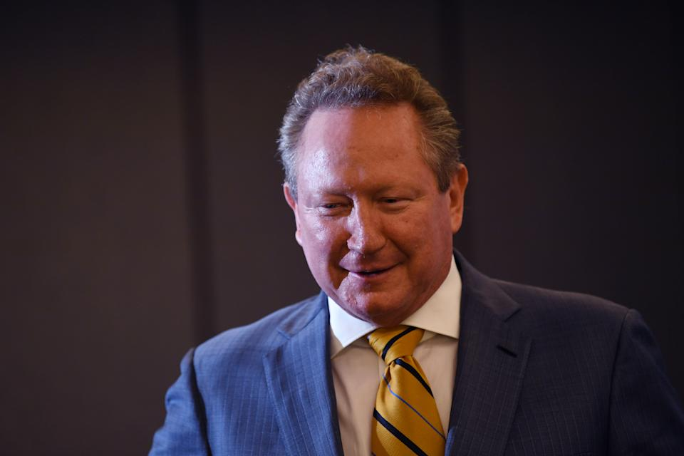 Andrew Twiggy Forrest gestures as he answers questions about his proposed Indo Pacific Rugby Championship competition during a media conference in Sydney.