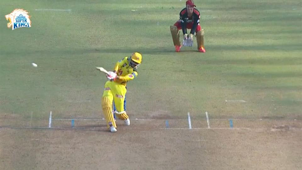 Seen here, Ravindra Jadeja belts a ball to the on-side boundary for Chennai.