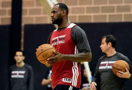 Miami Heat forward LeBron James (6) during practice before game 2 of the 2014 NBA Finals at Spurs Practice Facility. Mandatory Credit: Bob Donnan-USA TODAY Sports