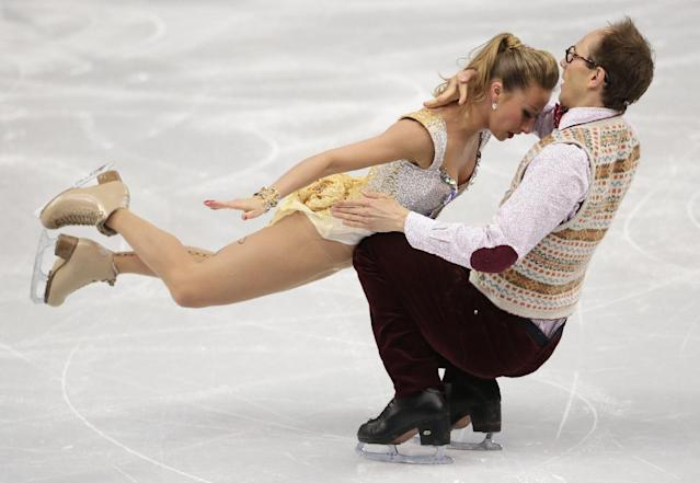 Nelli Zhiganshina and Alexander Gazsi of Germany compete in the ice dance free dance figure skating finals at the Iceberg Skating Palace during the 2014 Winter Olympics, Monday, Feb. 17, 2014, in Sochi, Russia. (AP Photo/Bernat Armangue)