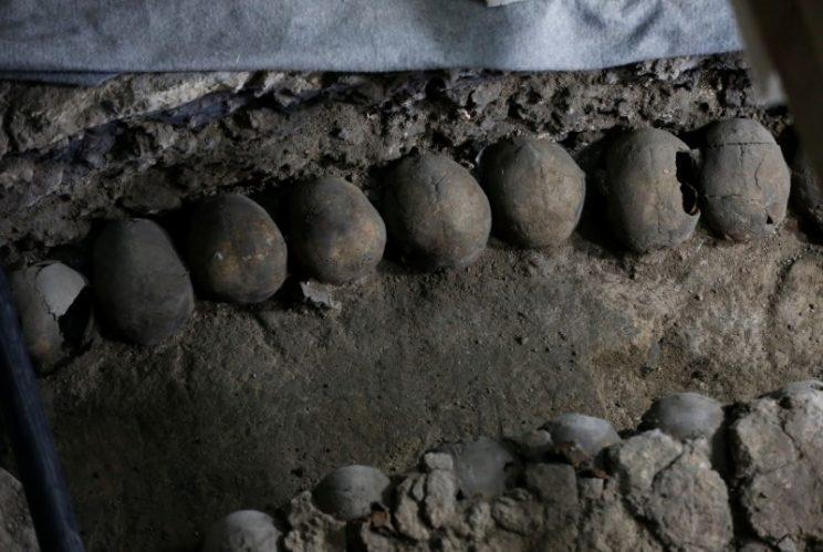 Archaeologists found more than 650 skulls caked in lime at the site (Reuters)