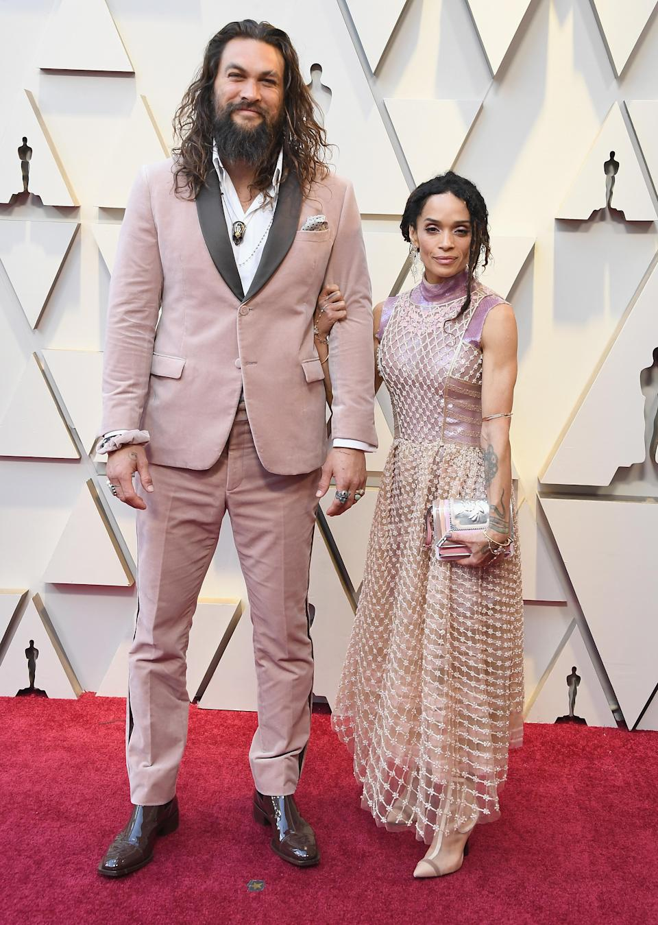 """<p>The """"Aquaman"""" star arrived alongside his wife Lisa Bonet in matching pink ensembles by Fendi. (Image via Getty Images) </p>"""