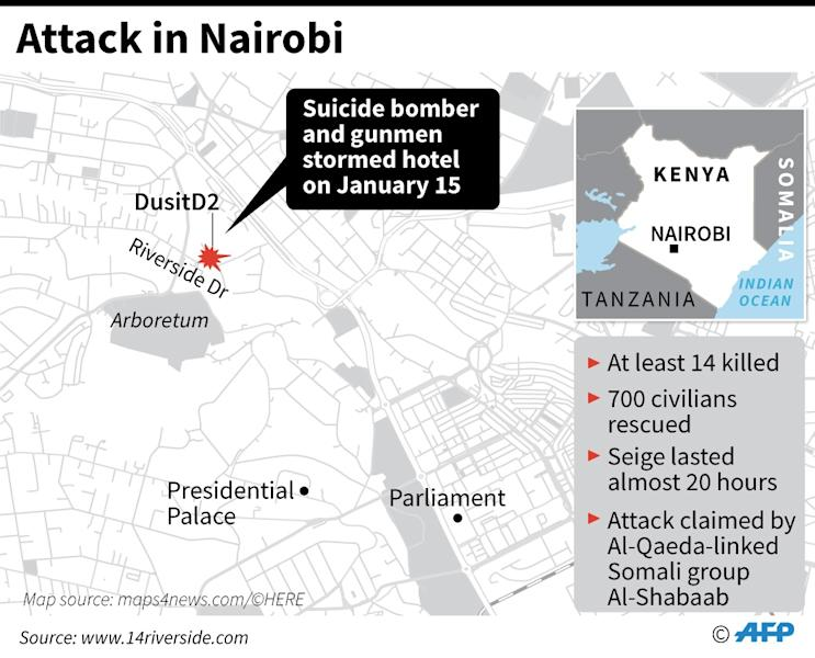 Map locating attack on an office and hotel complex in the Kenyan capital of Nairobi. (AFP Photo/Sabrina BLANCHARD)