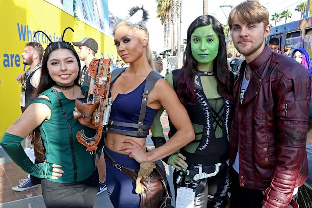 <p>Cosplayers dressed as Mantis, Rocket, Gamora, and Star-Lord from <i>Guardians of the Galaxy</i> at Comic-Con International on July 21, 2018, in San Diego. (Photo: Angela Kim/Yahoo Entertainment) </p>
