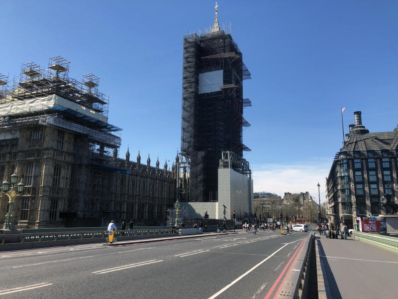 A general view of Big Ben from Westminster Bridge during the Corona virus pandemic. Boris Johnson, announced strict lockdown measures urging people to stay at home and only leave the house for basic food shopping, exercise once a day and essential travel to and from work. Around 50,000 reported cases of the coronavirus (COVID-19) in the United Kingdom and 5,000 deaths. The country is in its third week of lockdown measures aimed at slowing the spread of the virus. (Photo by Rahman Hassani / SOPA Images/Sipa USA)