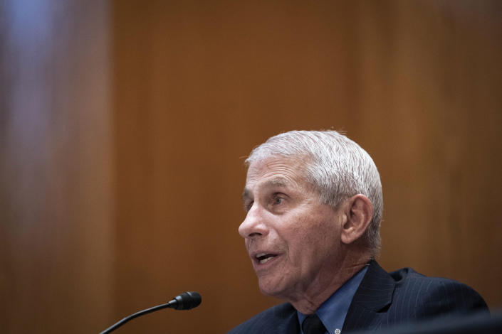 FILE - In this May 26, 2021 file photo, Dr. Anthony Fauci, speaks during a Senate Appropriations Subcommittee looking into the budget estimates for NIH and the state of medical research, on Capitol Hill in Washington. On Friday, June 11, The Associated Press reported on stories circulating online incorrectly claiming people should stop wearing masks because leaked emails written by Fauci said masks aren't effective against COVID-19. (Sarah Silbiger/Pool via AP, File)