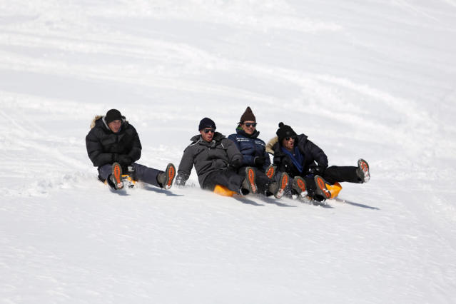 "Desiree takes seven men on a group date to the German Alps. They ride in a gondola to the highest peak in all of Germany. They're taught how to yodel, with the Bachelorette enjoying their antics. The group has a blast as they sled down a black diamond ski slope. What awaits them is a spectacular igloo hotel totally carved out of snow and ice. As Zak and Drew profess their love for Desiree, James and Brooks go all out in a ferocious battle, on ""The Bachelorette."""