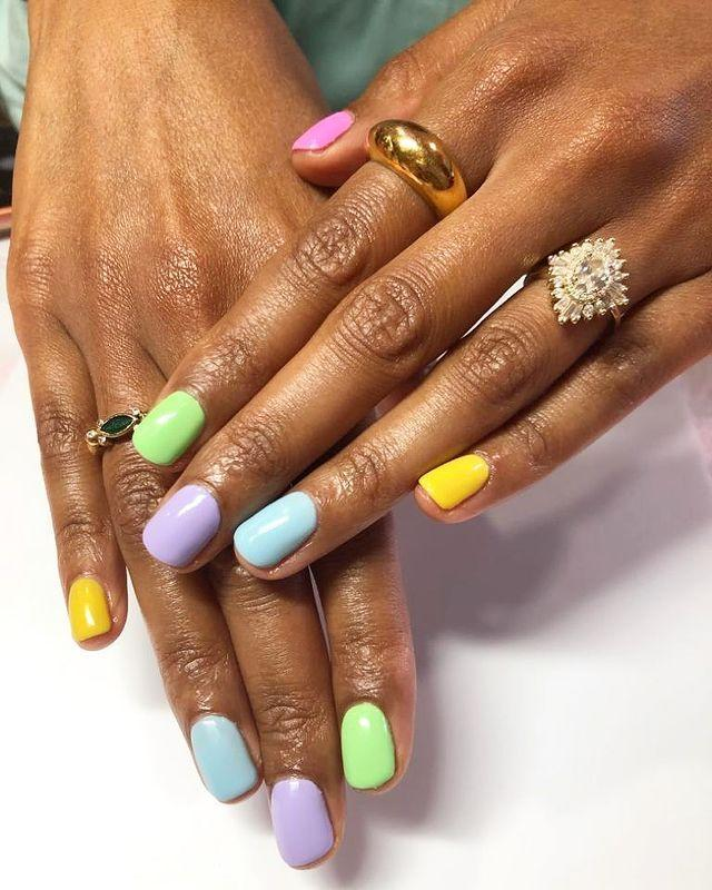 """<p>Can't decide which shade of pastel polish? Problem solved.</p><p><a href=""""https://www.instagram.com/p/B3-CArKAaS7/"""" rel=""""nofollow noopener"""" target=""""_blank"""" data-ylk=""""slk:See the original post on Instagram"""" class=""""link rapid-noclick-resp"""">See the original post on Instagram</a></p>"""