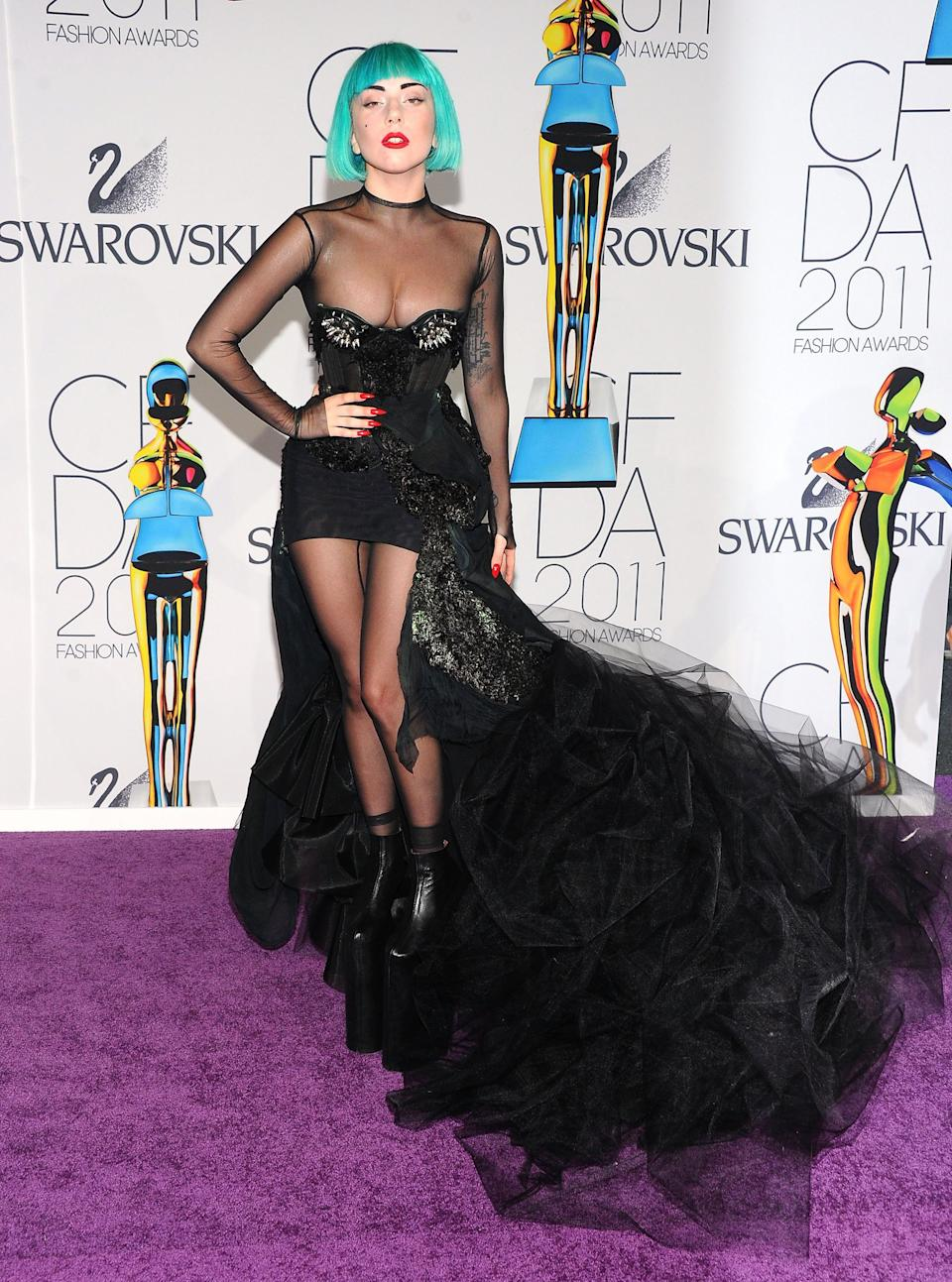 The Grammy-winner wears a custom look by Mugler at the 2011 CFDA Fashion Awards, where she received the Fashion Icon award.