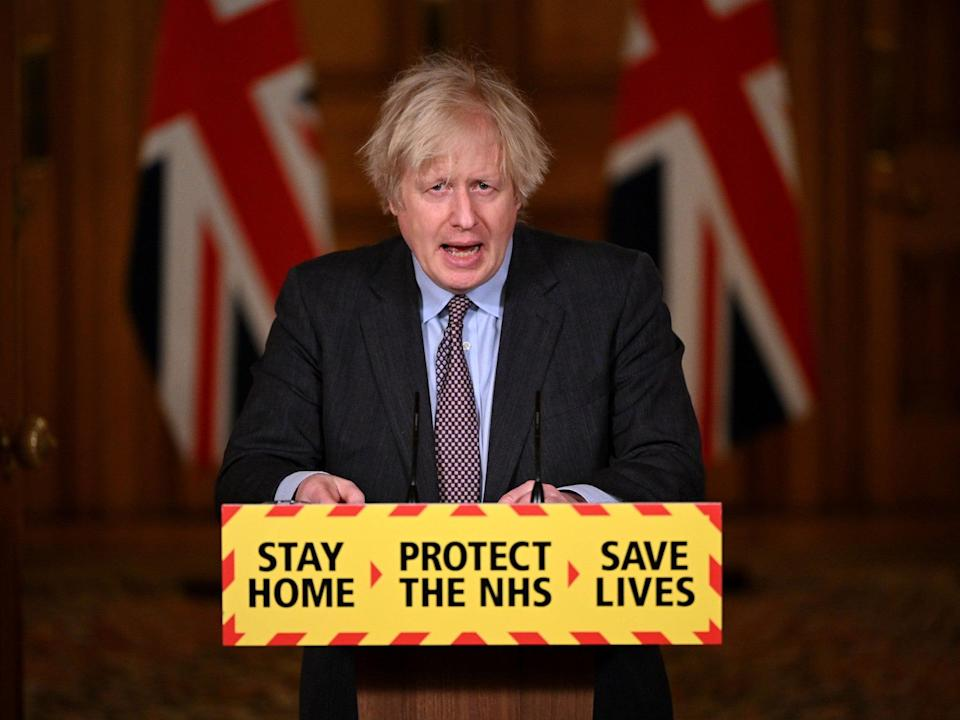 <p>Boris Johnson talking about the lockdown 'roadmap'</p> (Leon Neal/PA)