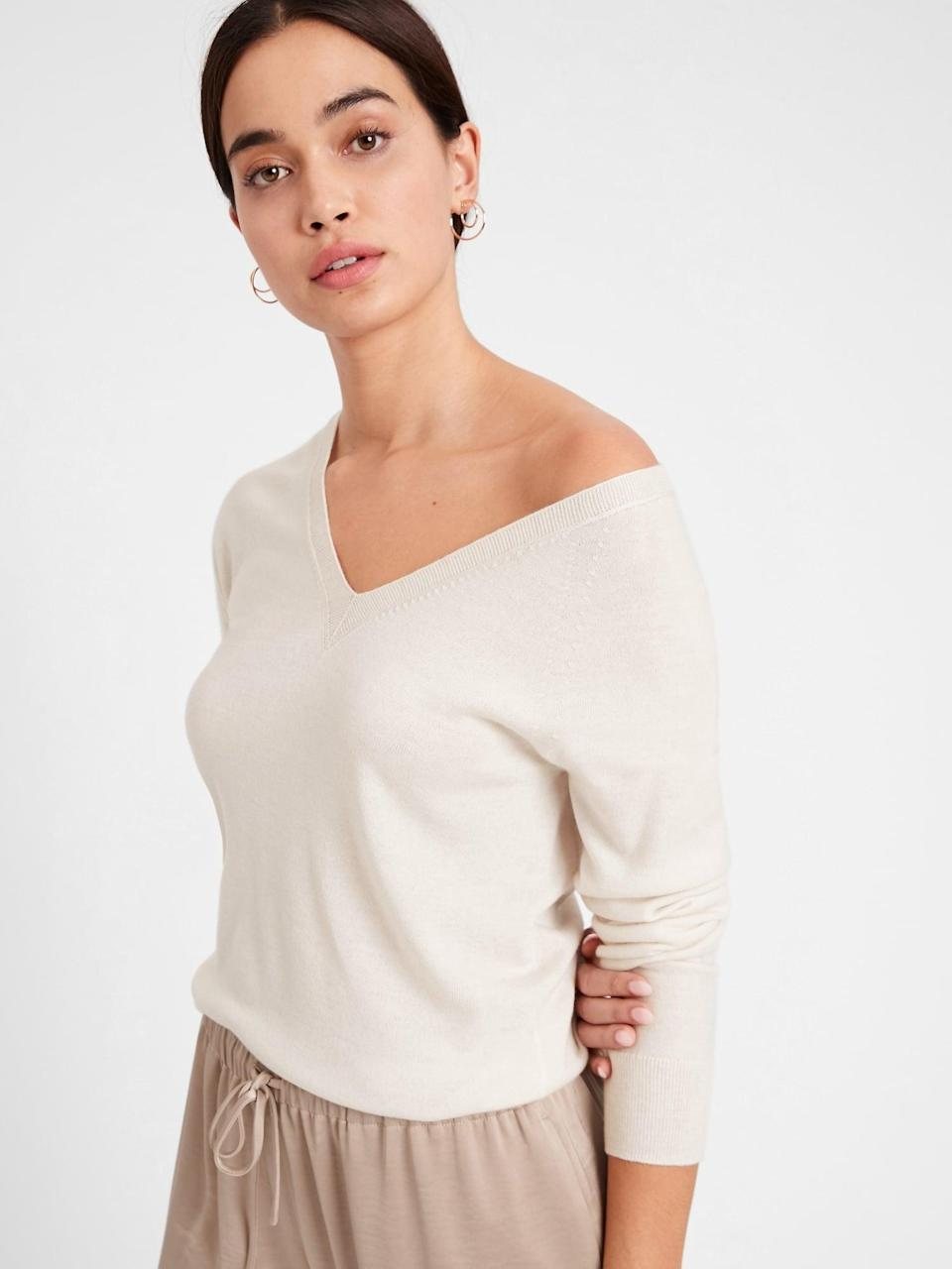 <p>You're cozy at home, why not show a little skin with this <span>Banana Republic Seamless Merino V-Neck Sweater in Responsible Wool</span> ($63, originally $80). A v-neck like this is the perfect base for long-line earrings or a great necklace!</p>