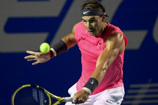 Spain's Rafael Nadal returns the ball en route to beating USA's Taylor Fritz in straight sets in the final of the Mexico Open in Acapulco
