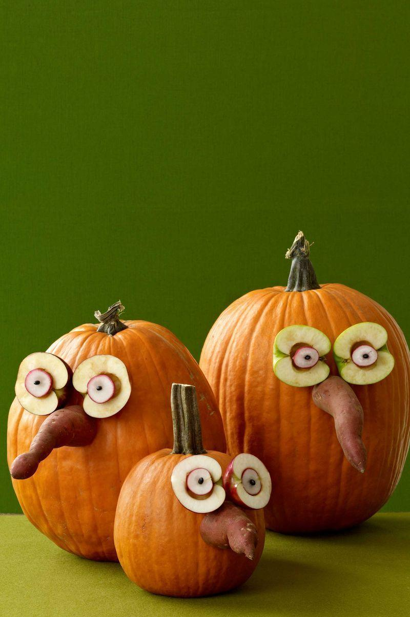 <p>Cut a sweet potato and an apple in half, and slice up a radish, then use toothpicks to arrange everything into a face for your pumpkin.</p>