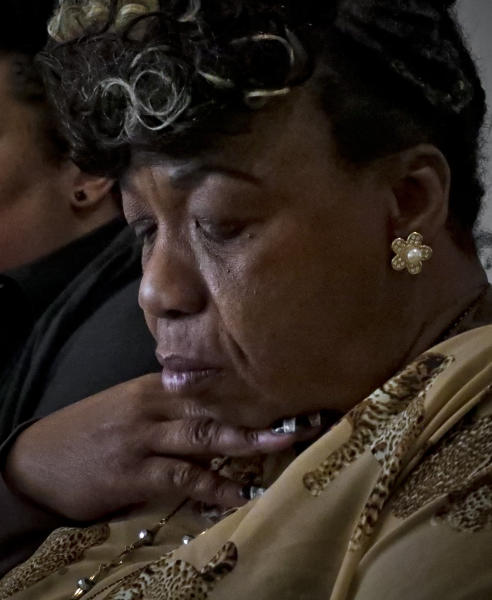 In this Wednesday May 8, 2019, photo, Gwen Carr, mother of Eric Garner- an unarmed black man who died as he was being subdued in a chokehold by NYPD police officer Daniel Pantaleo nearly five years ago, speaks during an interview in New York. A New York City judge has cleared the way for a police disciplinary trial to begin next week for Pantaleo in the death of her son, after rejecting his claim that a police watchdog agency didn't have jurisdiction to prosecute the case. (AP Photo/Bebeto Matthews)