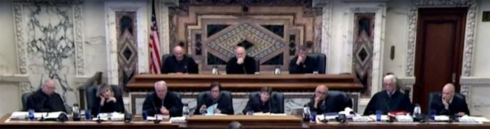 A screenshot of an en banc panel of the 9th U.S. Circuit Court of Appeals on June 6, 2016, while hearing the San Diego-based case Peruta v. County of San Diego involving concealed-carry gun permits.