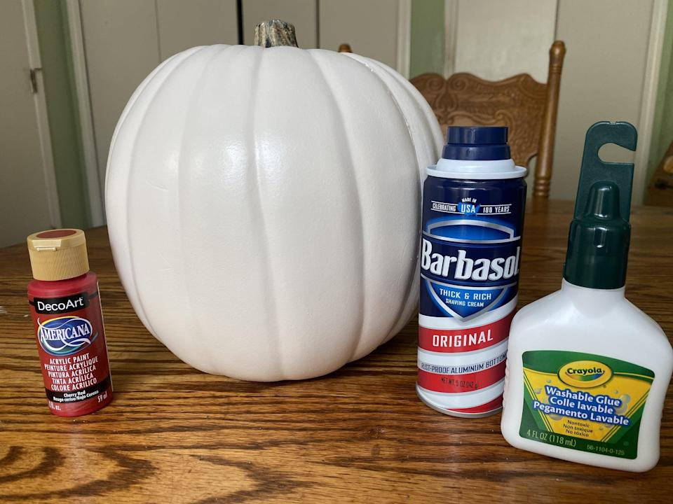 """<p>You'll need some white school glue, shaving cream, red paint, and a <a href=""""https://www.popsugar.com/smart-living/Free-Disney-Pumpkin-Stencils-42610263"""" class=""""link rapid-noclick-resp"""" rel=""""nofollow noopener"""" target=""""_blank"""" data-ylk=""""slk:pumpkin"""">pumpkin</a> (fake or real will do, but fake pumpkins last longer!). The pumpkin I found at the craft store was already painted white, so it was super easy to cover with the red paint.</p>"""