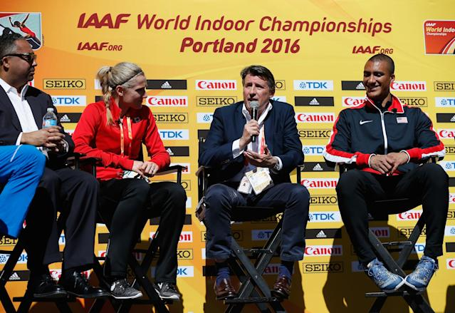 PORTLAND, OR - MARCH 17: (L-R) Brianne Theisen-Eaton of Canada, IAAF President Lord Sebastian Coe, Ashton Eaton of the United States attend the IAAF/LOC Press Conference at Pioneer Courthouse Square on March 17, 2016 in Portland, Oregon. (Photo by Christian Petersen/Getty Images for IAAF)