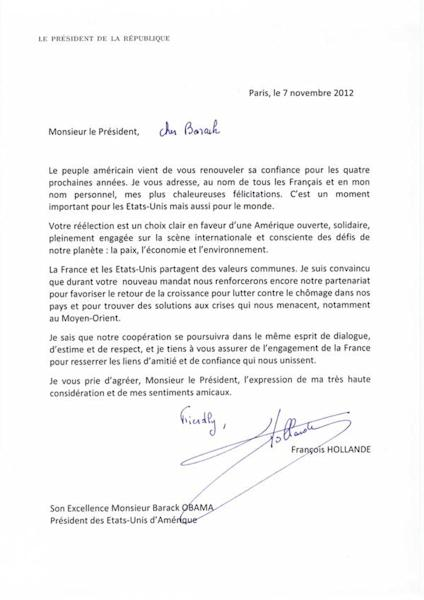 "In this photo provided by the French Presidential Palace on Wednesday, Nov. 7, 2012, a letter written by French President Francois Hollande addressed to U.S. President Barack Obama congratulating him on his reelection bears a handwritten salutation reading, ""Friendly, Francois Hollande"". The congratulatory note written by Hollande to Obama for his reelection has been lost in translation, overshadowing the note's serious political message, after the letter went viral on Twitter. (AP Photo)"