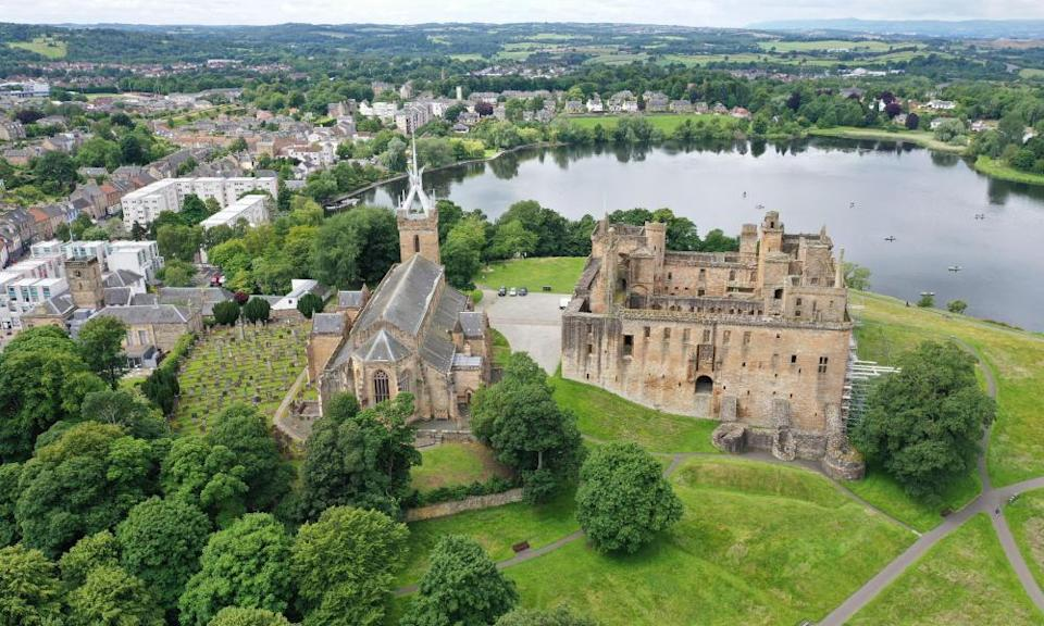 Aerial drone view of Linlithgow Palace, West Lothian, UK.