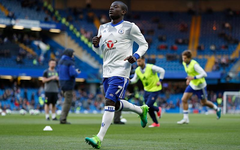 Chelsea's N'Golo Kante warms up before the match  - Credit: REUTERS
