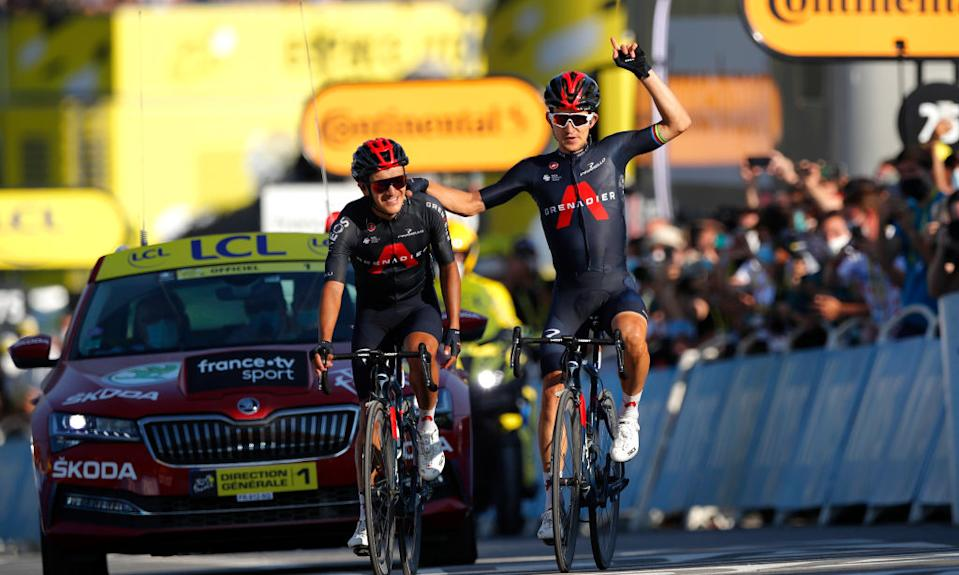 LA ROCHESURFORON FRANCE  SEPTEMBER 17 Arrival  Richard Carapaz of Ecuador and Team INEOS Grenadiers  Michal Kwiatkowski of Poland and Team INEOS Grenadiers  Celebration  during the 107th Tour de France 2020 Stage 18 a 175km stage from Mribel to La Roche sur Foron 543m  TDF2020  LeTour  on September 17 2020 in La RochesurForon France Photo by Stephane Mahe  PoolGetty Images