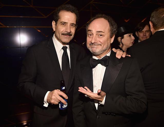<p>Tony Shalhoub and Kevin Pollak attend Amazon Studios' Golden Globes Celebration at the Beverly Hilton Hotel. (Photo: Alberto E. Rodriguez/Getty Images) </p>