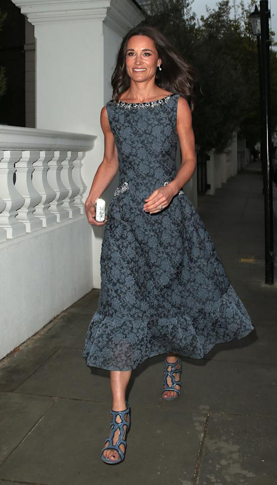 <p>We love the elegant, printed cocktail dress Pippa wore to attend a fundraising ball shortly before her wedding.</p>