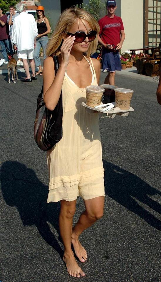 "Once again, Nicole Richie goes barefoot while grabbing coffee. Malibu eateries must have a very flexible footwear policy! SG/<a href=""http://www.x17online.com"" target=""new"">X17 Online</a> - July 24, 2005"