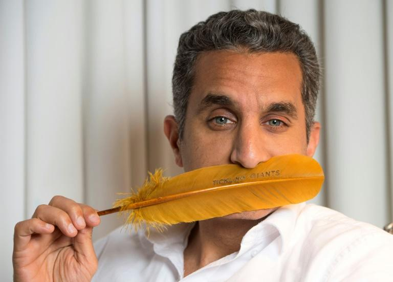 Egyptian Comedian Bassem Youssef poses at the SLS Hotel on April 6, 2017, in Los Angeles, California