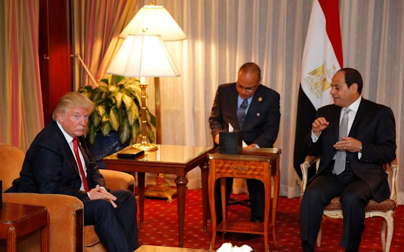 Donald Trump and Abdel-Fattah el-Sisi meet in September 2016 - AFP