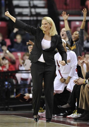 Maryland coach Brenda Frese reacts to a basket against North Carolina during the first half of an NCAA college basketball game on Thursday, Jan. 24, 2013, in College Park, Md. Maryland won 85-59. (AP Photo/Gail Burton)