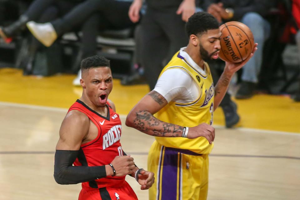 Russell Westbrook and Anthony Davis are nightmare matchups for each other's teams. (Jevone Moore/Icon Sportswire via Getty Images)