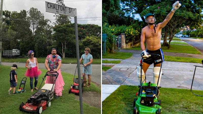 People wearing crazy outfits while they mow their lawn