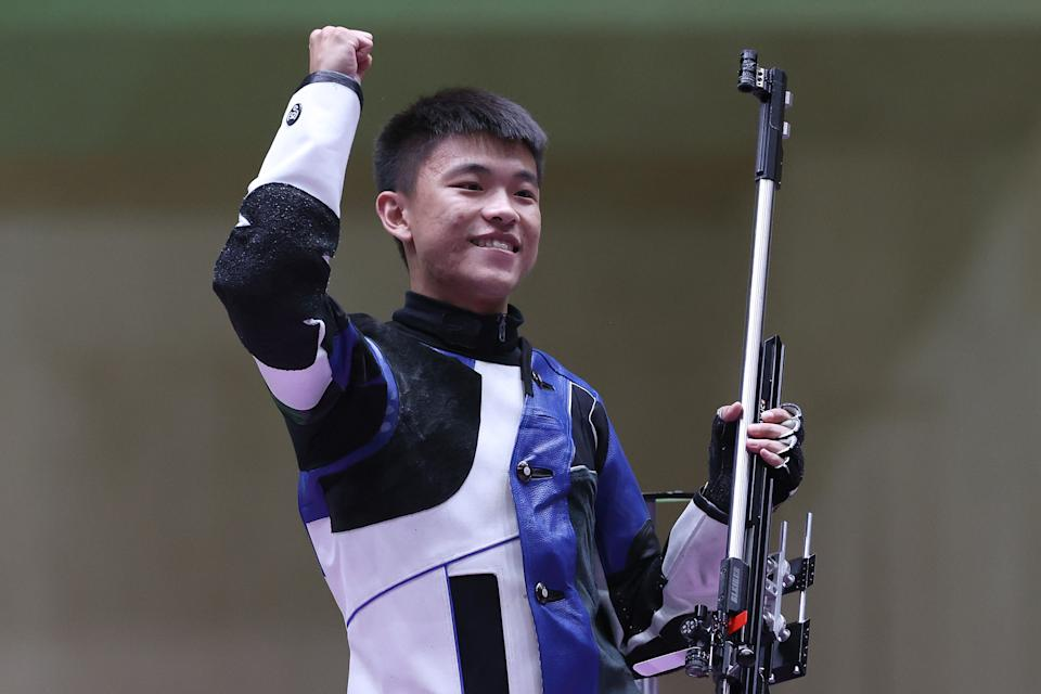 <p>ASAKA, JAPAN - AUGUST 02: Gold Medalist Changhong Zhang of Team China celebrates following 50m Rifle 3-Position Men's Finals on day ten of the Tokyo 2020 Olympic Games at Asaka Shooting Range on August 02, 2021 in Asaka, Saitama, Japan. (Photo by Kevin C. Cox/Getty Images)</p>